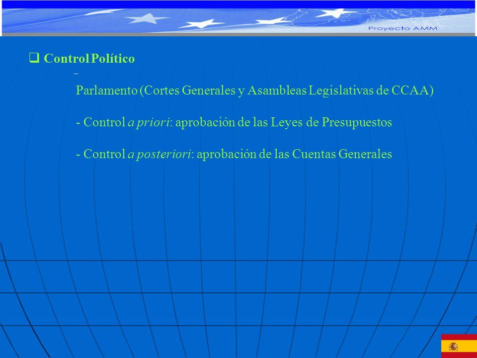 Control Político Parlamento (Cortes Generales y Asambleas Legislativas de CCAA) - Control a priori: aprobación de las Leyes de Presupuestos - Control a posteriori: aprobación de las Cuentas Generales