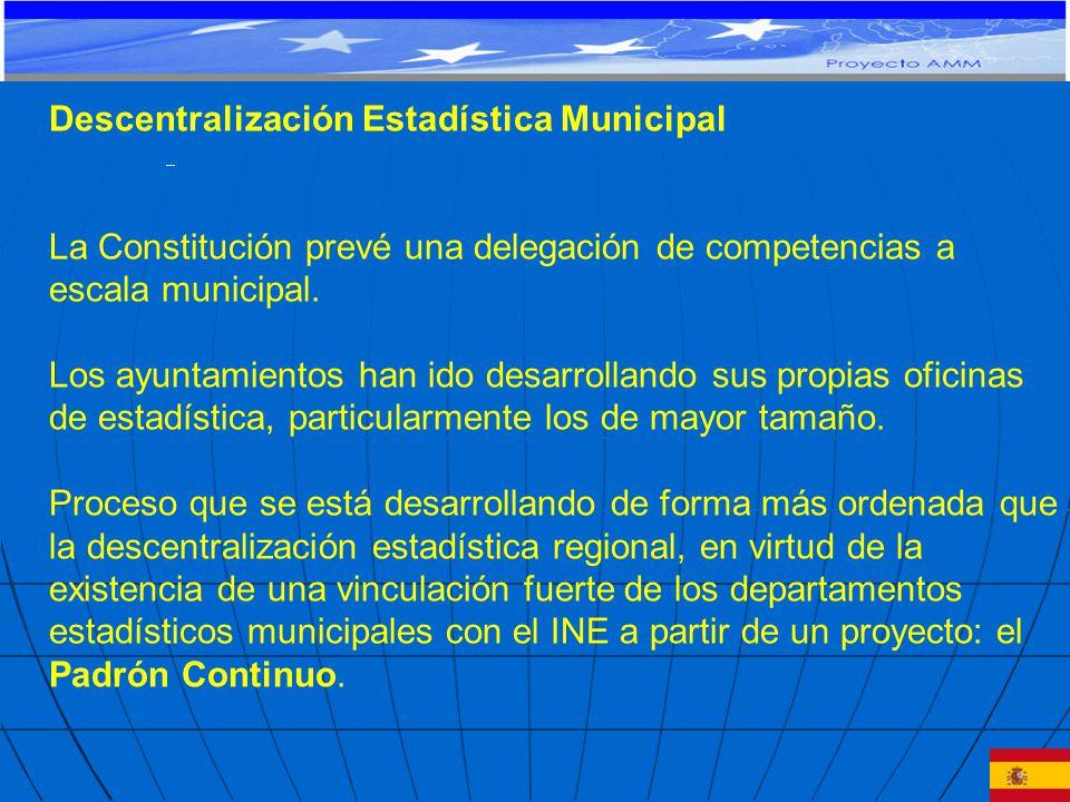 Descentralización Estadística Municipal La Constitución prevé una delegación de competencias a escala municipal.