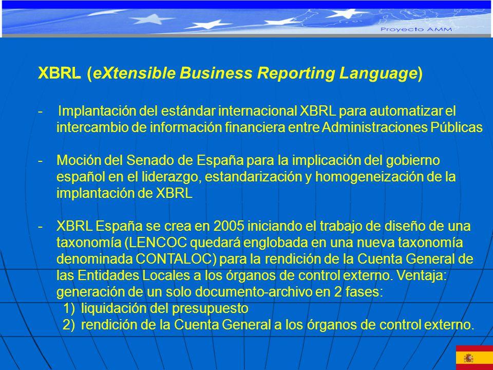 XBRL (eXtensible Business Reporting Language) - Implantación del estándar internacional XBRL para automatizar el intercambio de información financiera entre Administraciones Públicas -Moción del Senado de España para la implicación del gobierno español en el liderazgo, estandarización y homogeneización de la implantación de XBRL -XBRL España se crea en 2005 iniciando el trabajo de diseño de una taxonomía (LENCOC quedará englobada en una nueva taxonomía denominada CONTALOC) para la rendición de la Cuenta General de las Entidades Locales a los órganos de control externo.