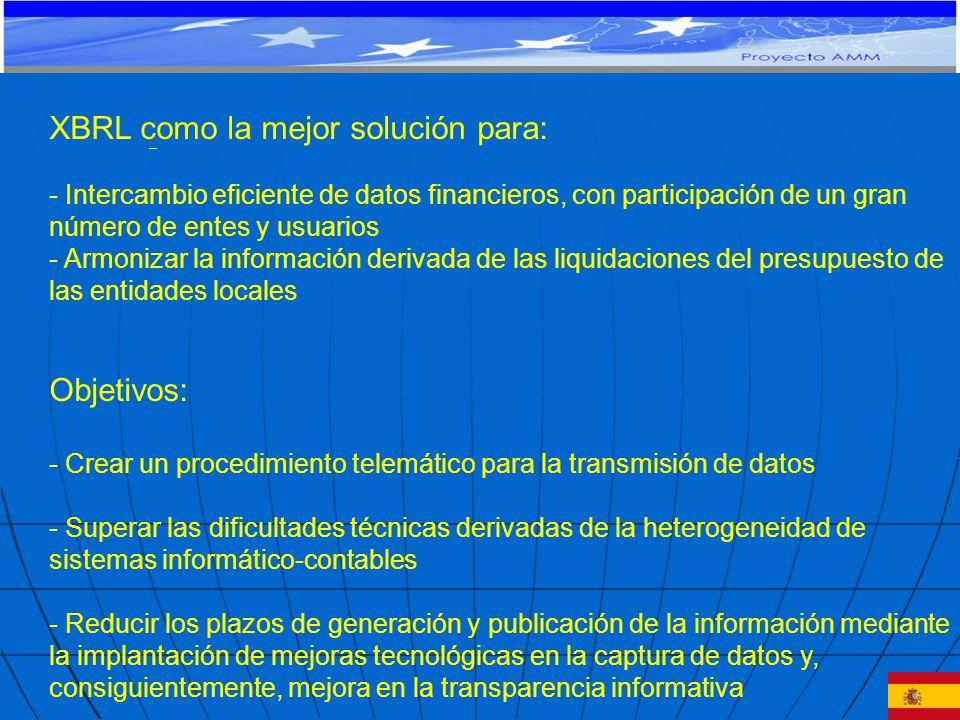 XBRL como la mejor solución para: - Intercambio eficiente de datos financieros, con participación de un gran número de entes y usuarios - Armonizar la información derivada de las liquidaciones del presupuesto de las entidades locales Objetivos: - Crear un procedimiento telemático para la transmisión de datos - Superar las dificultades técnicas derivadas de la heterogeneidad de sistemas informático-contables - Reducir los plazos de generación y publicación de la información mediante la implantación de mejoras tecnológicas en la captura de datos y, consiguientemente, mejora en la transparencia informativa