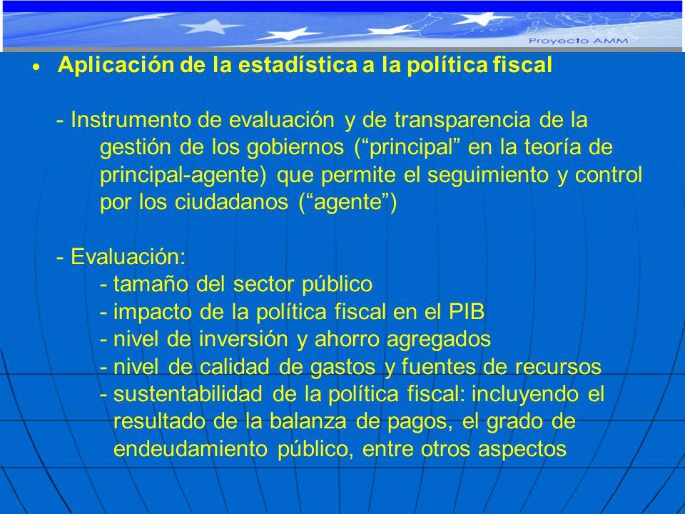 Aplicación de la estadística a la política fiscal - Instrumento de evaluación y de transparencia de la gestión de los gobiernos (principal en la teoría de principal-agente) que permite el seguimiento y control por los ciudadanos (agente) - Evaluación: - tamaño del sector público - impacto de la política fiscal en el PIB - nivel de inversión y ahorro agregados - nivel de calidad de gastos y fuentes de recursos - sustentabilidad de la política fiscal: incluyendo el resultado de la balanza de pagos, el grado de endeudamiento público, entre otros aspectos PROYECTO DE COOPERACIÓN TÉCNICA Y FINANCIERA CE-MERCOSUR: APOYO AL MONITOREO MACROECONÓMICO