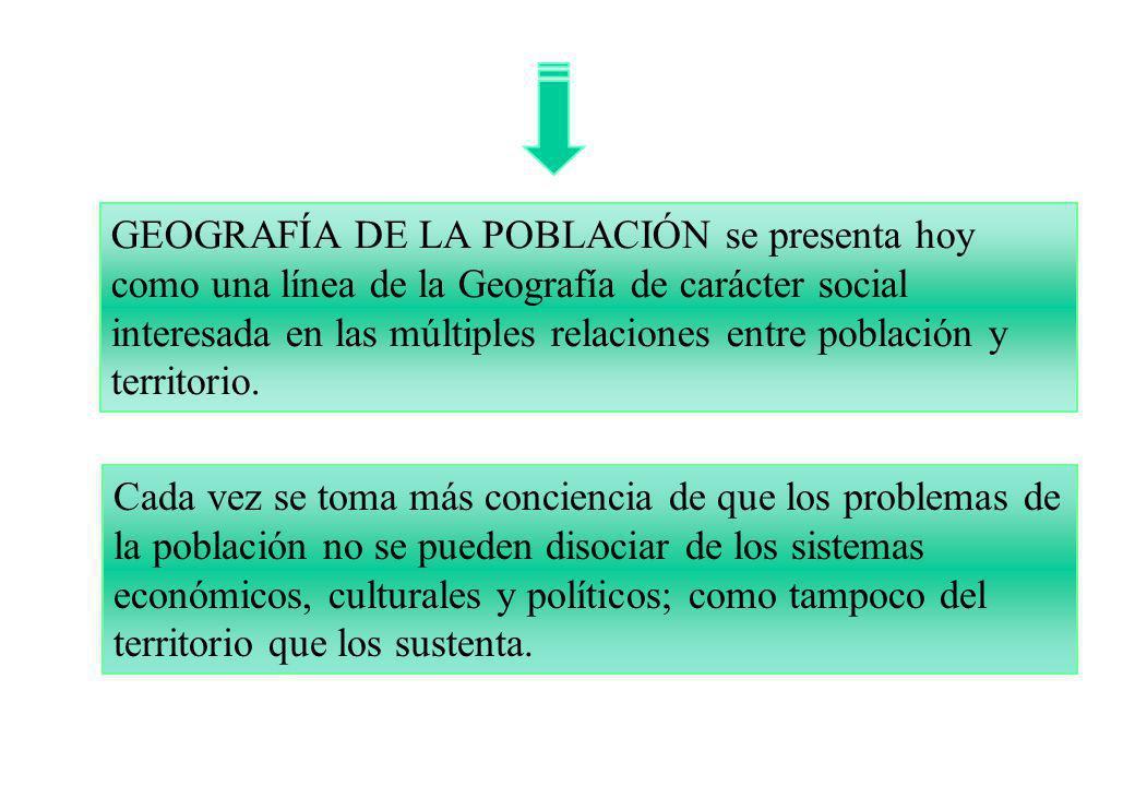 GEOGRAFÍA DE LA POBLACIÓN se presenta hoy como una línea de la Geografía de carácter social interesada en las múltiples relaciones entre población y t