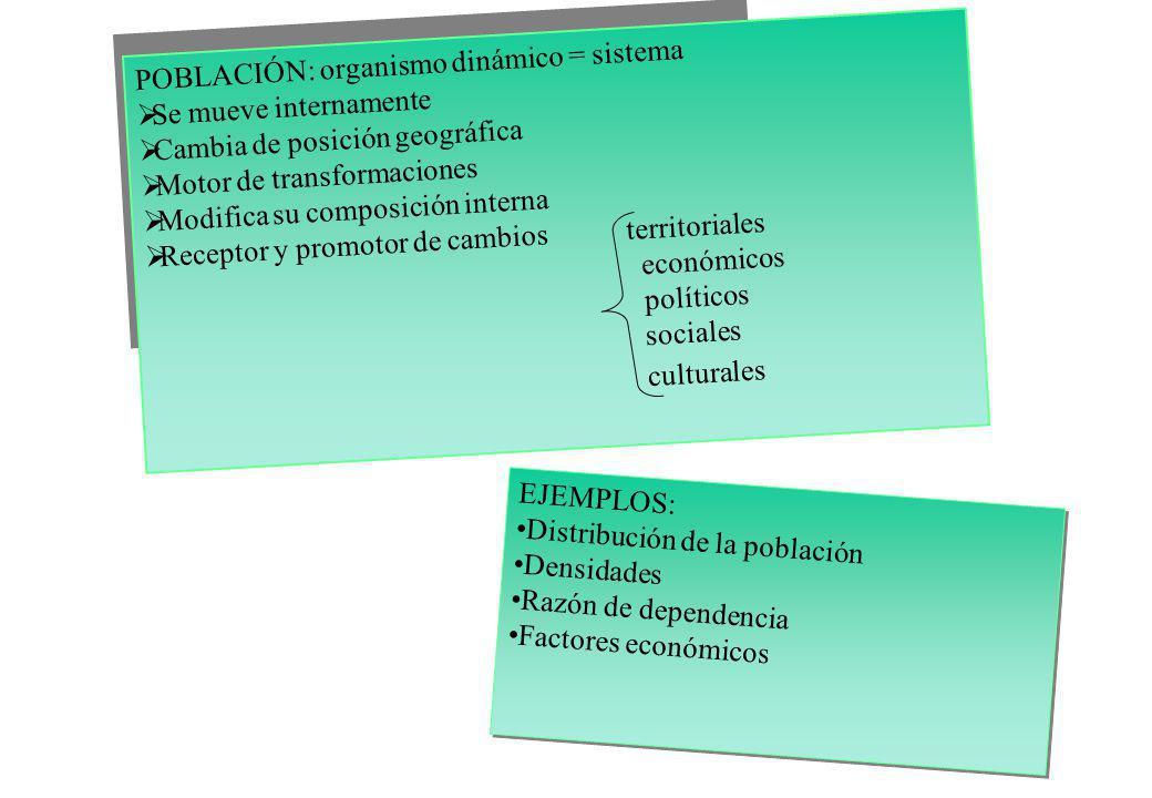 POBLACIÓN: organismo dinámico = sistema Se mueve internamente Cambia de posición geográfica Motor de transformaciones Modifica su composición interna