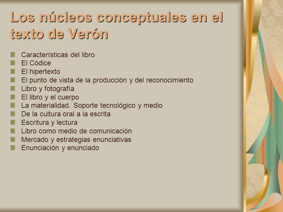 Los núcleos conceptuales en el texto de Verón Características del libro El Códice El hipertexto El punto de vista de la producción y del reconocimient