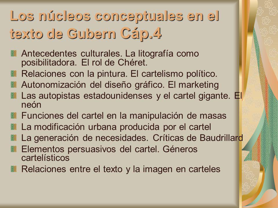 Los núcleos conceptuales en el texto de Gubern Cáp.4 Antecedentes culturales. La litografía como posibilitadora. El rol de Chéret. Relaciones con la p