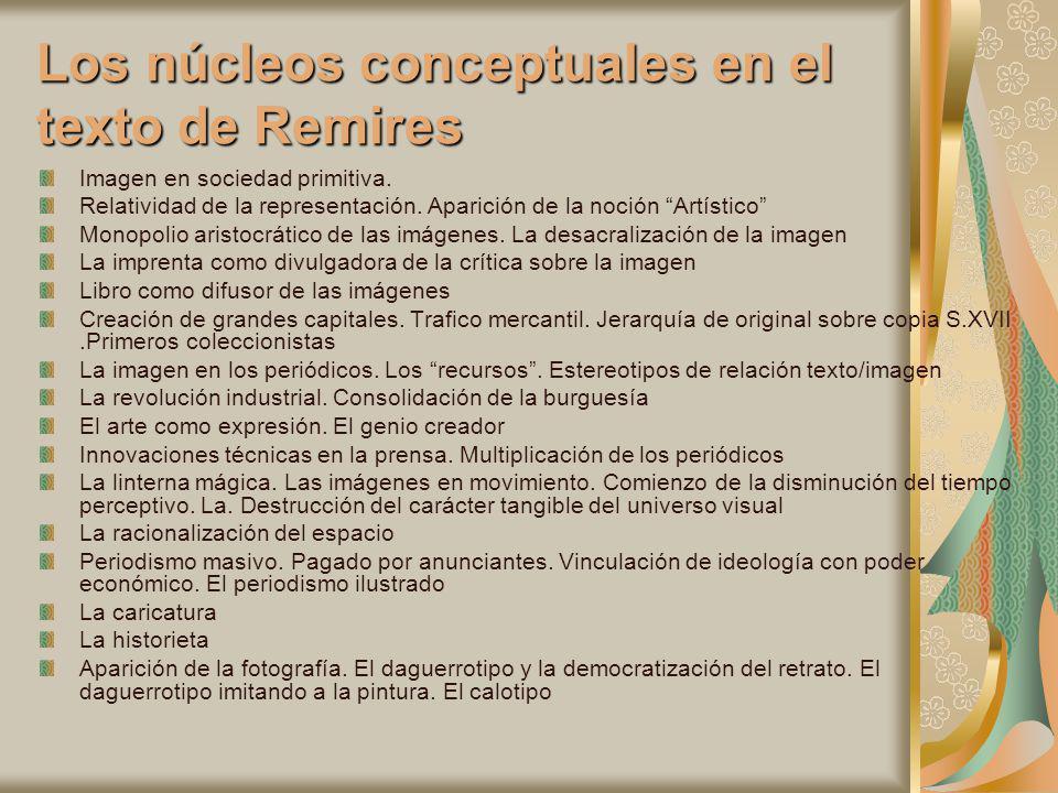 Los núcleos conceptuales en el texto de Remires Imagen en sociedad primitiva. Relatividad de la representación. Aparición de la noción Artístico Monop