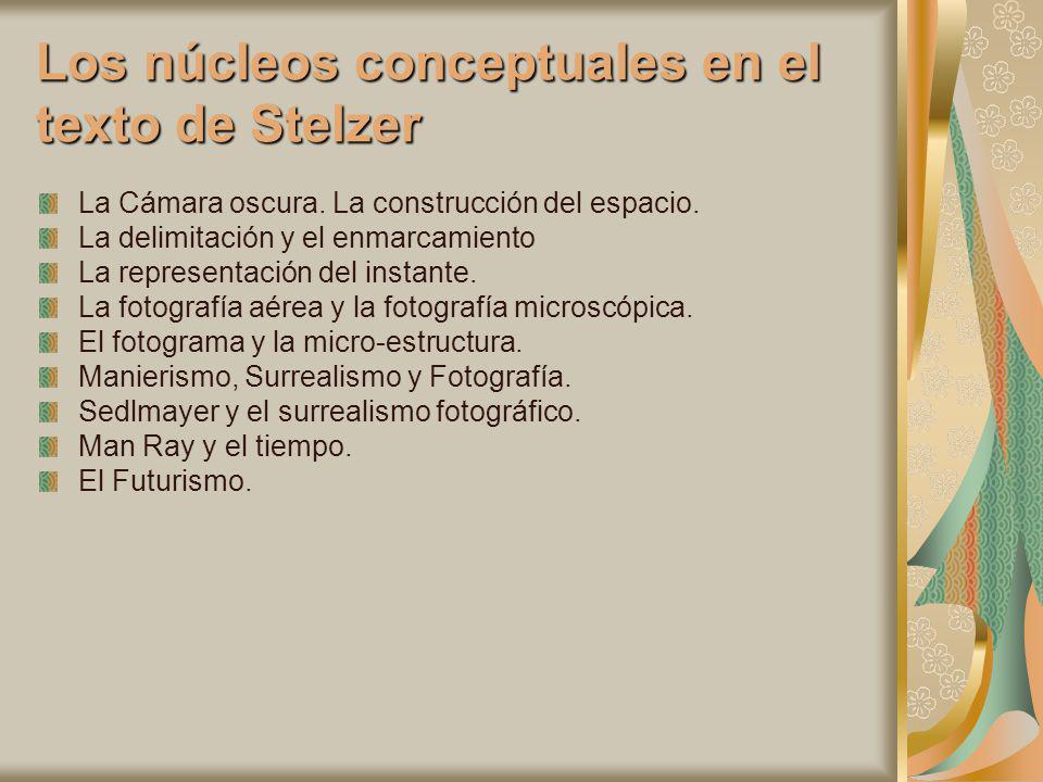 Los núcleos conceptuales en el texto de Stelzer La Cámara oscura. La construcción del espacio. La delimitación y el enmarcamiento La representación de
