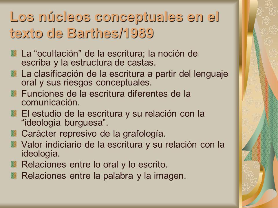 Los núcleos conceptuales en el texto de Barthes/1989 La ocultación de la escritura; la noción de escriba y la estructura de castas. La clasificación d