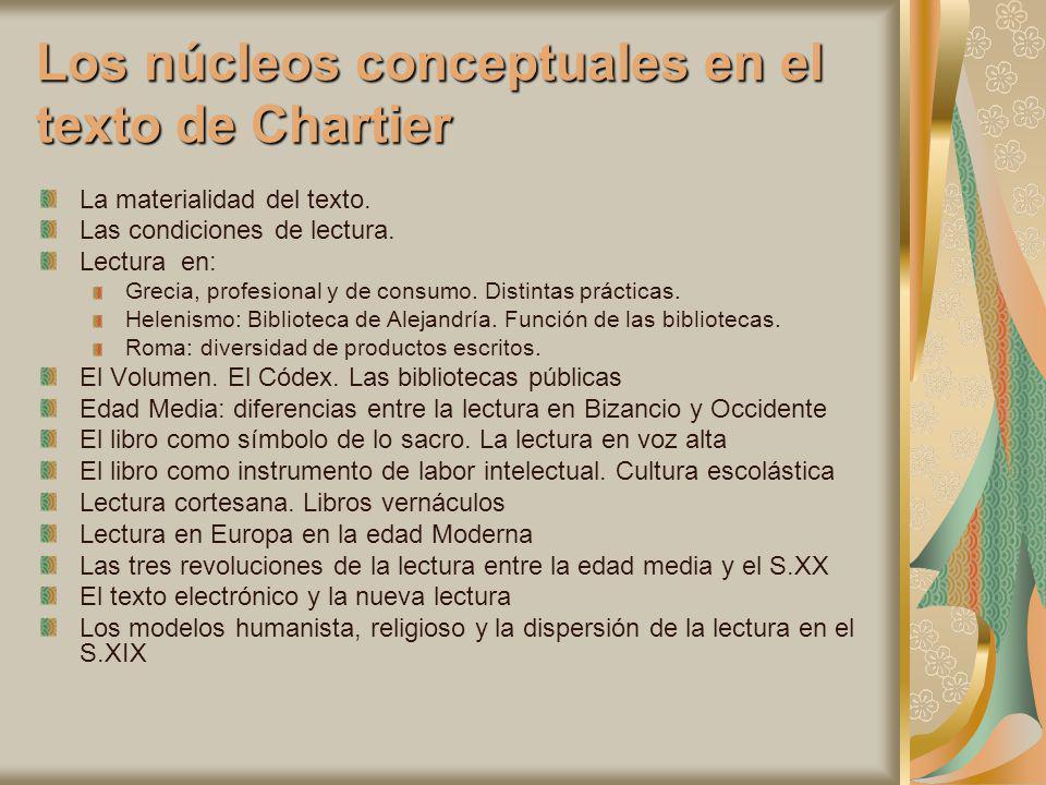Los núcleos conceptuales en el texto de Chartier La materialidad del texto. Las condiciones de lectura. Lectura en: Grecia, profesional y de consumo.