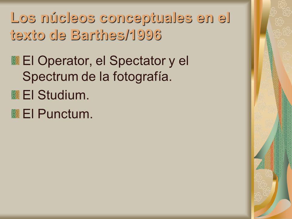Los núcleos conceptuales en el texto de Barthes/1996 El Operator, el Spectator y el Spectrum de la fotografía. El Studium. El Punctum.