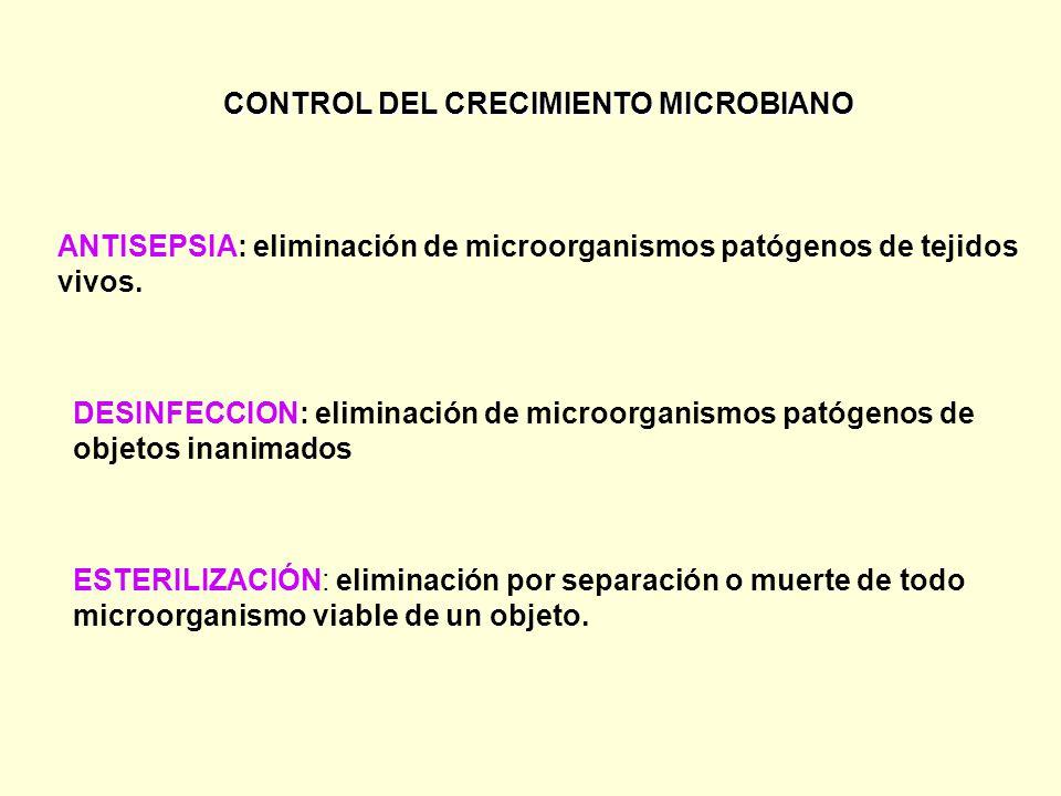 CONTROL DEL CRECIMIENTO MICROBIANO DESINFECCION: eliminación de microorganismos patógenos de objetos inanimados ANTISEPSIA: eliminación de microorganismos patógenos de tejidos vivos.