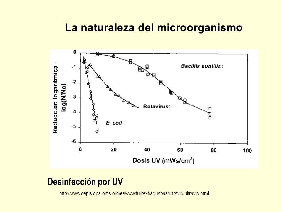 Desinfección por UV http://www.cepis.ops-oms.org/eswww/fulltext/aguabas/ultravio/ultravio.html La naturaleza del microorganismo