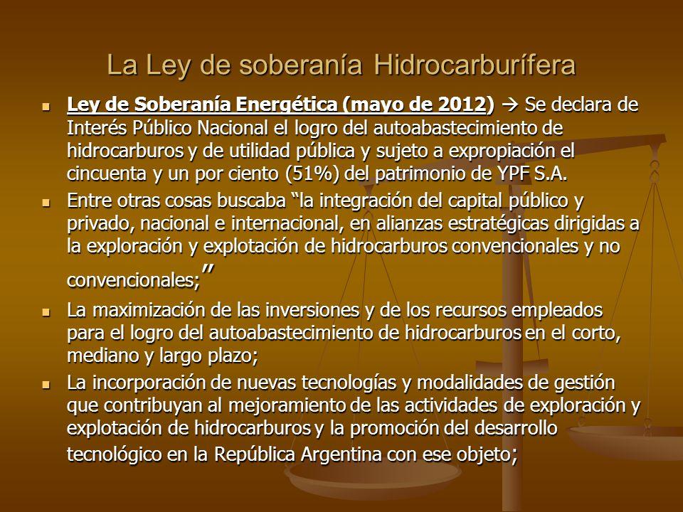 La Ley de soberanía Hidrocarburífera Ley de Soberanía Energética (mayo de 2012) Se declara de Interés Público Nacional el logro del autoabastecimiento