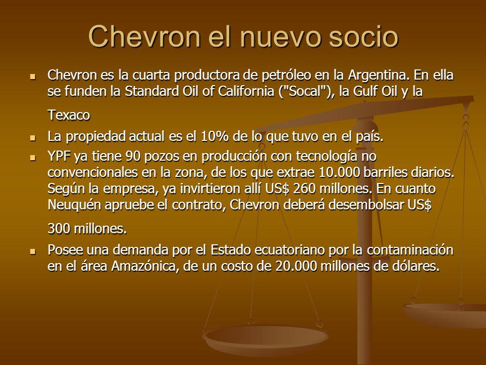 Chevron el nuevo socio Chevron es la cuarta productora de petróleo en la Argentina. En ella se funden la Standard Oil of California (