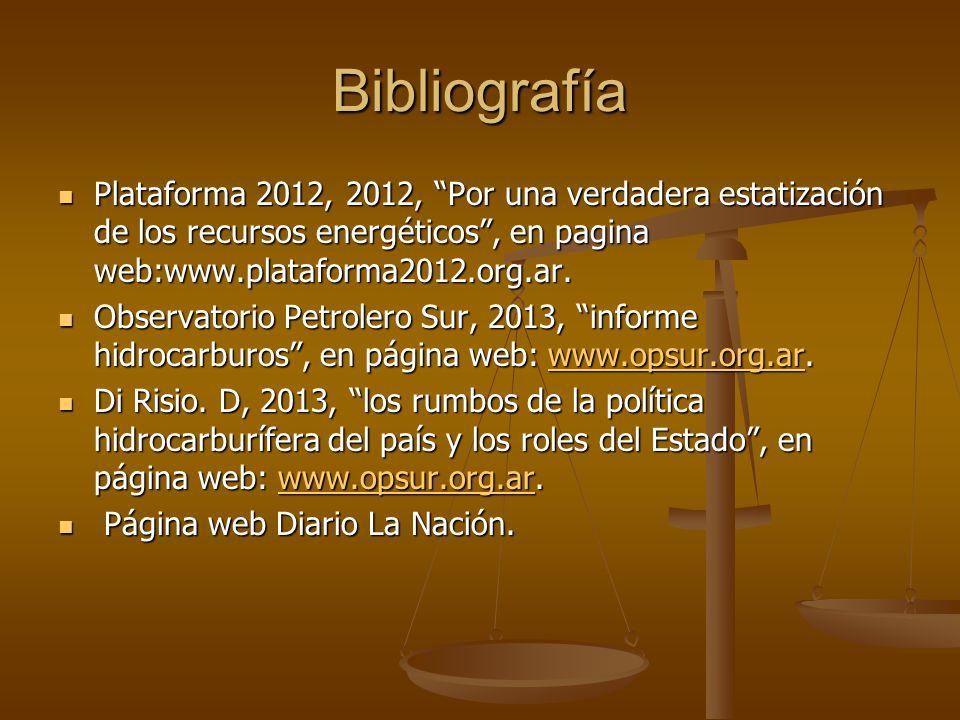 Bibliografía Plataforma 2012, 2012, Por una verdadera estatización de los recursos energéticos, en pagina web:www.plataforma2012.org.ar. Plataforma 20