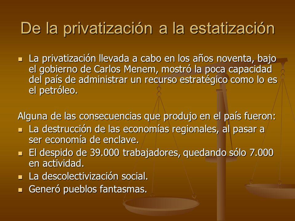De la privatización a la estatización La privatización llevada a cabo en los años noventa, bajo el gobierno de Carlos Menem, mostró la poca capacidad