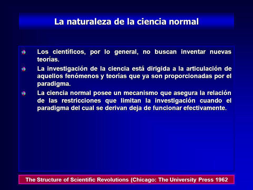 La ruta a la ciencia normal La ciencia normal significa aquella investigación que está firmemente basada sobre algún o algunos logros científicos pasa