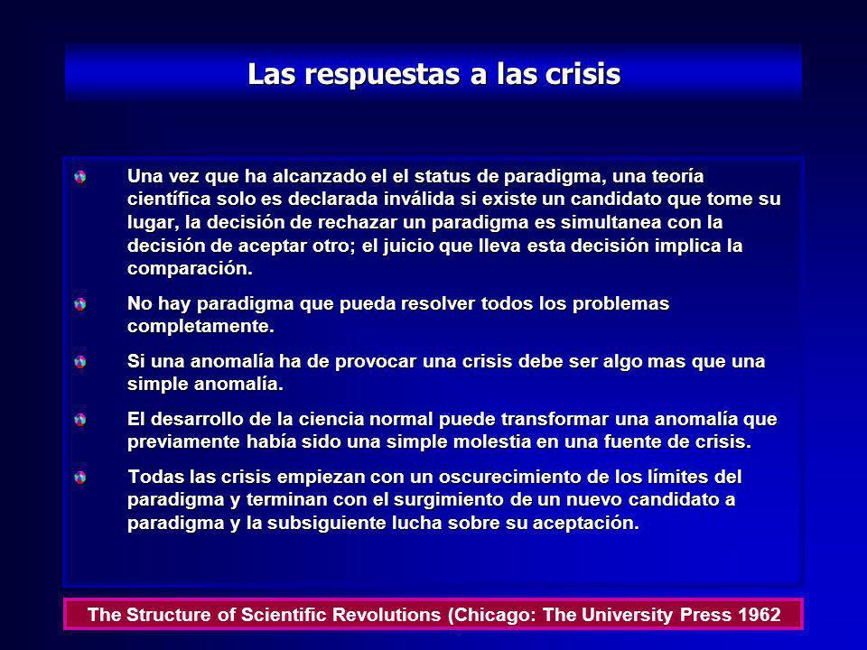 La crisis y la teorías científicas La emergencia de nuevas teorías es precedida generalmente por un período de acentuada inseguridad profesional. Esta