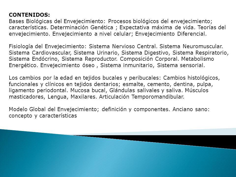 CONTENIDOS: Bases Biológicas del Envejecimiento: Procesos biológicos del envejecimiento; características.