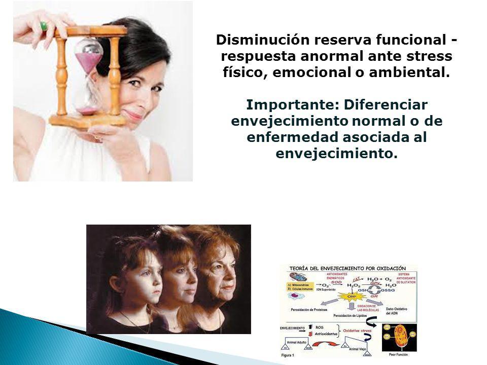 Disminución reserva funcional - respuesta anormal ante stress físico, emocional o ambiental.
