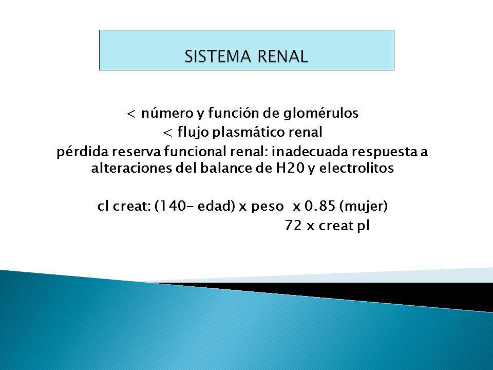 < número y función de glomérulos < flujo plasmático renal pérdida reserva funcional renal: inadecuada respuesta a alteraciones del balance de H20 y electrolitos cl creat: (140- edad) x peso x 0.85 (mujer) 72 x creat pl