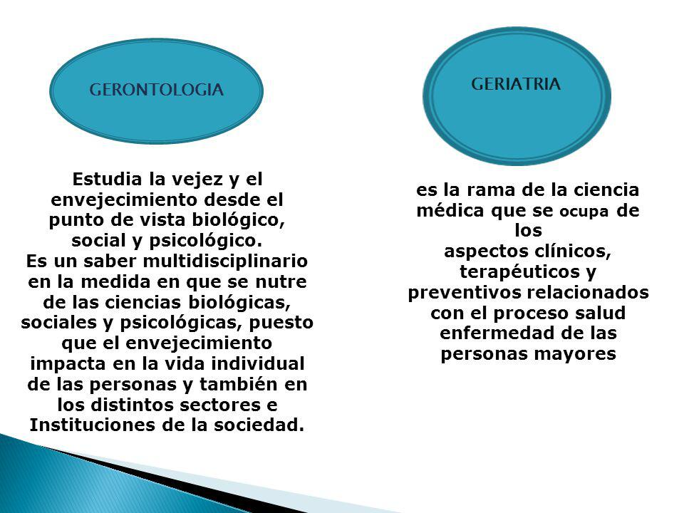 GERONTOLOGIA GERIATRIA es la rama de la ciencia médica que se ocupa de los aspectos clínicos, terapéuticos y preventivos relacionados con el proceso salud enfermedad de las personas mayores Estudia la vejez y el envejecimiento desde el punto de vista biológico, social y psicológico.