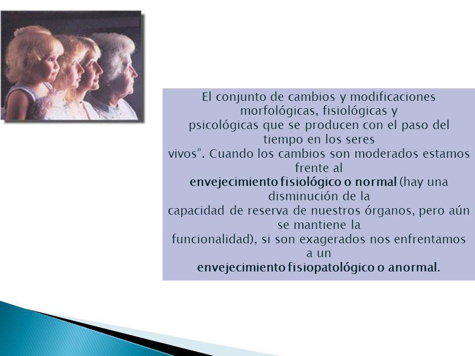 El Envejecimiento El conjunto de cambios y modificaciones morfológicas, fisiológicas y psicológicas que se producen con el paso del tiempo en los seres vivos.
