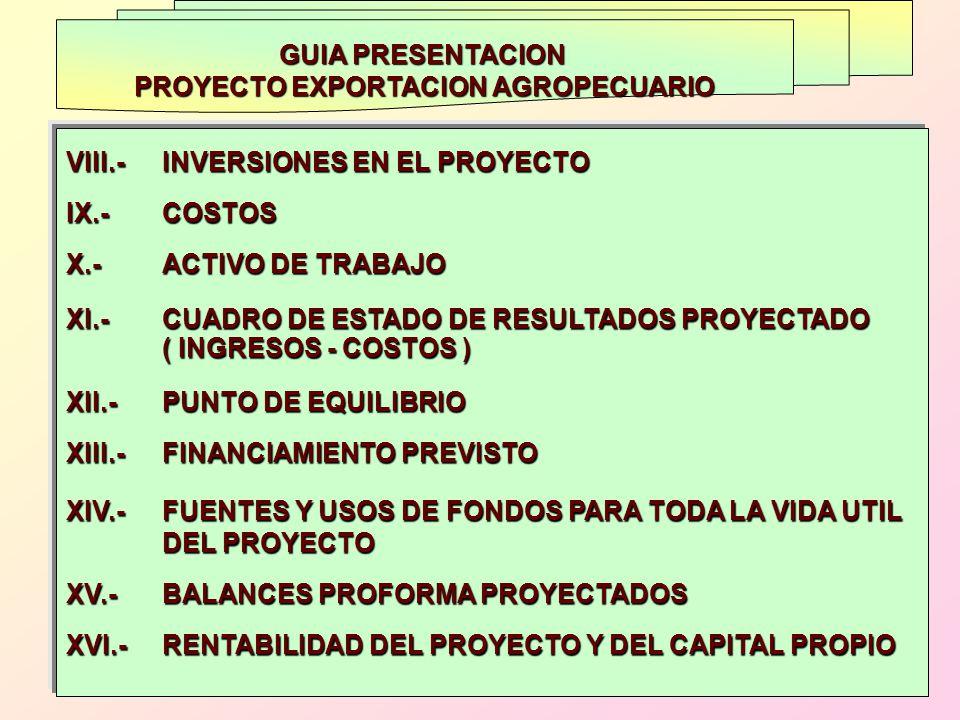 GUIA PRESENTACION PROYECTO EXPORTACION AGROPECUARIO VIII.- INVERSIONES EN EL PROYECTO IX.- COSTOS X.- ACTIVO DE TRABAJO XI.- CUADRO DE ESTADO DE RESUL