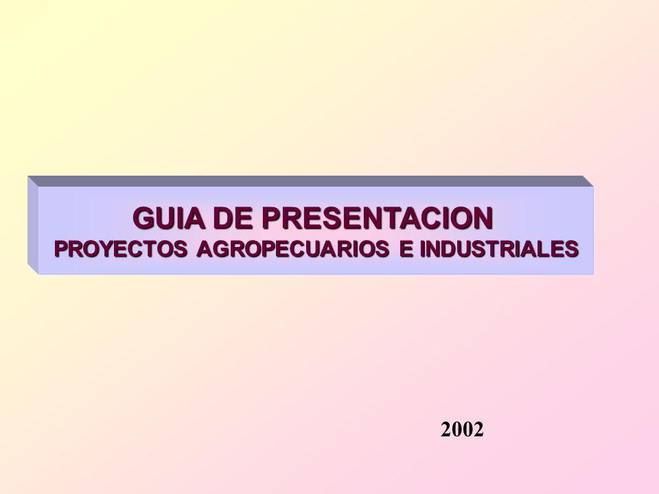 GUIA DE PRESENTACION PROYECTOS AGROPECUARIOS E INDUSTRIALES 2002