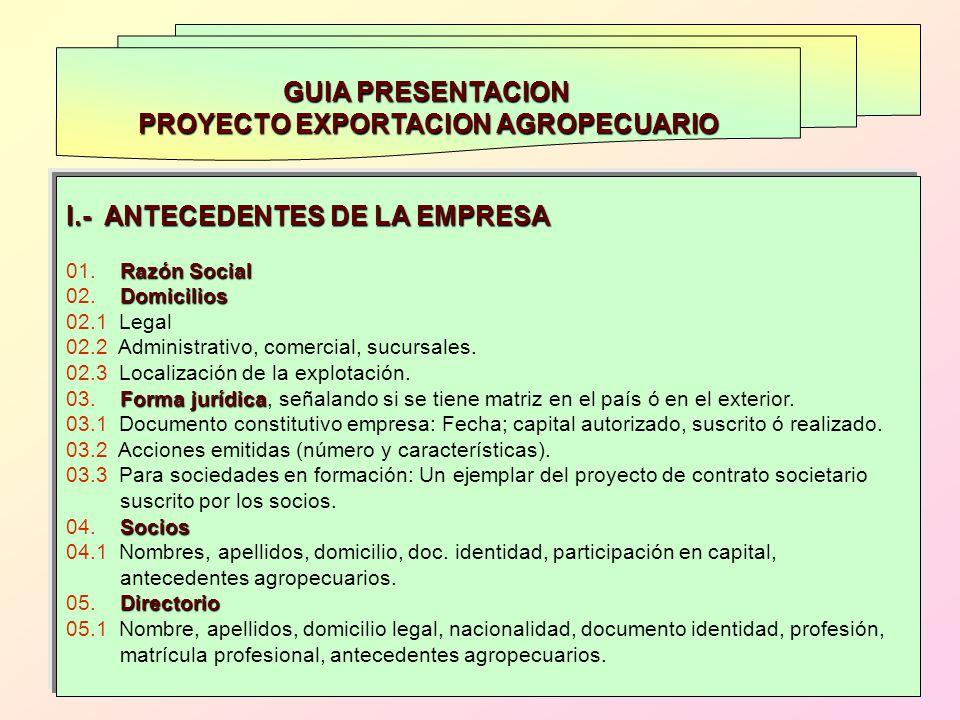 GUIA PRESENTACION PROYECTO EXPORTACION AGROPECUARIO I.- ANTECEDENTES DE LA EMPRESA Razón Social 01. Razón Social Domicilios 02. Domicilios 02.1 Legal