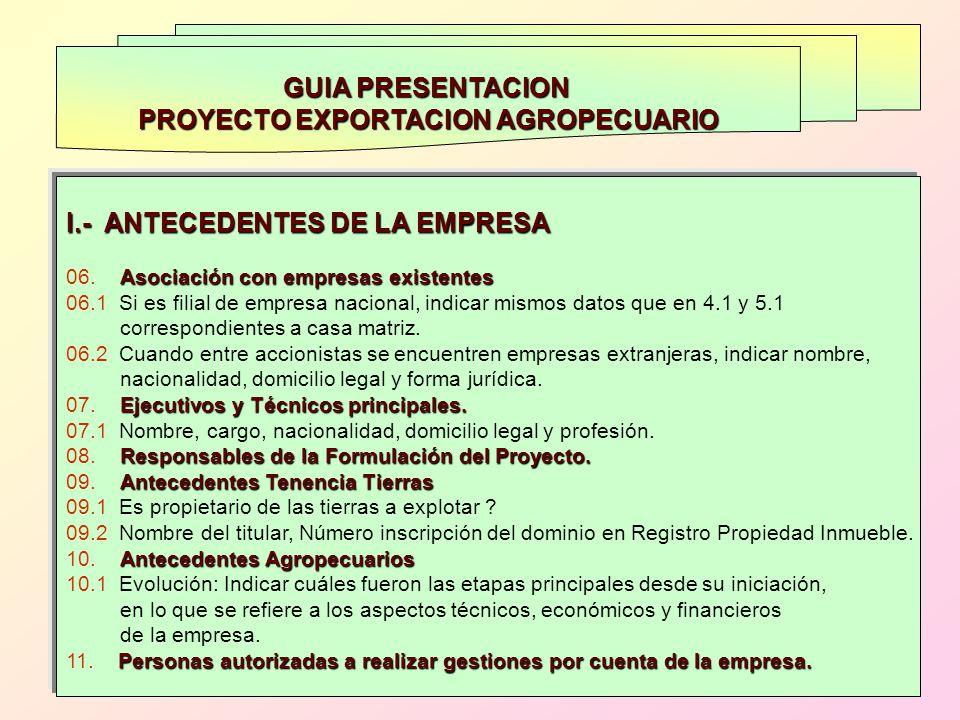 GUIA PRESENTACION PROYECTO EXPORTACION AGROPECUARIO I.- ANTECEDENTES DE LA EMPRESA Asociación con empresas existentes 06. Asociación con empresas exis