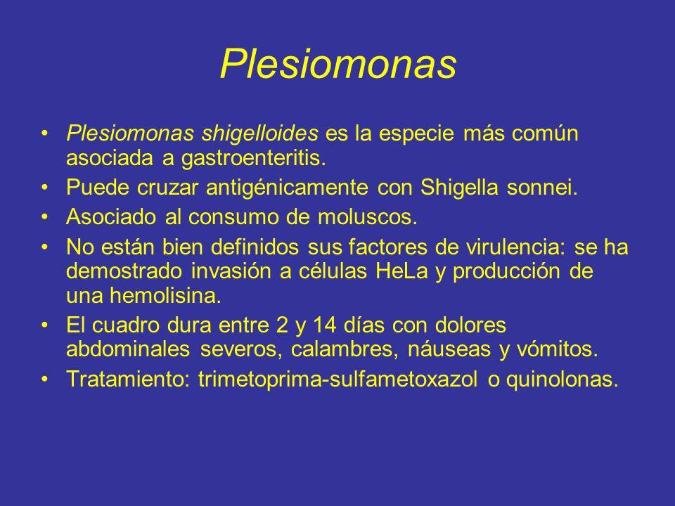 Plesiomonas Plesiomonas shigelloides es la especie más común asociada a gastroenteritis.