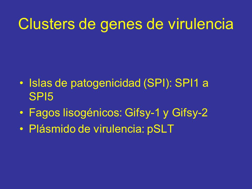 Clusters de genes de virulencia Islas de patogenicidad (SPI): SPI1 a SPI5 Fagos lisogénicos: Gifsy-1 y Gifsy-2 Plásmido de virulencia: pSLT