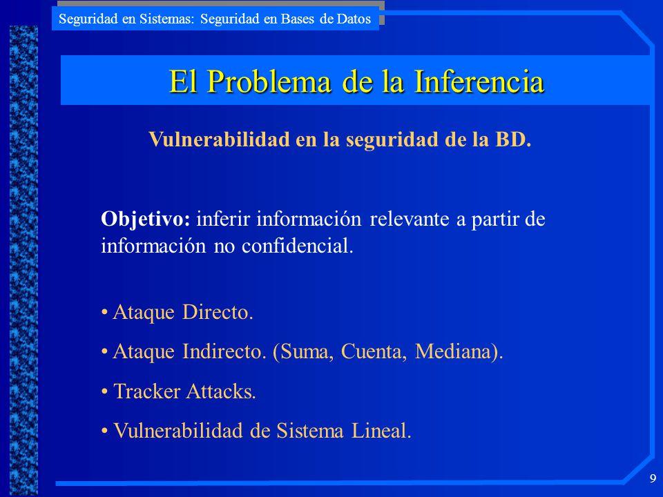 Seguridad en Sistemas: Seguridad en Bases de Datos 9 El Problema de la Inferencia Vulnerabilidad en la seguridad de la BD. Objetivo: inferir informaci