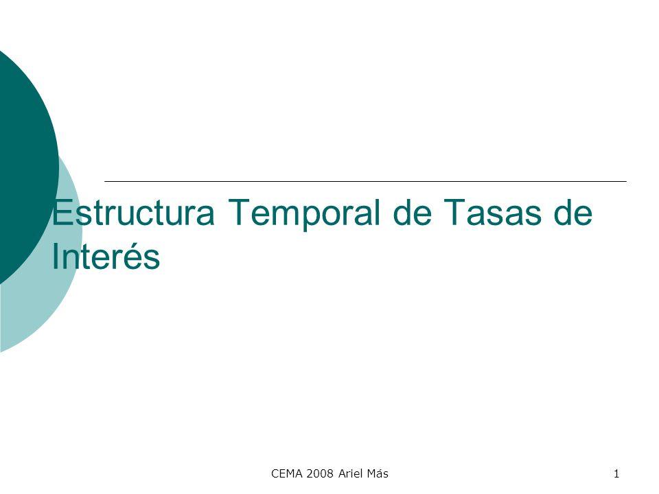 CEMA 2008 Ariel Más2 Yield Curve Relaciona las tasas de rendimiento de los distintos plazos al vencimiento PlazoTIR 0,54,00% 15,30% 35,50% 55,75% 76,00% 106,15% 306,20% tendencia mercado