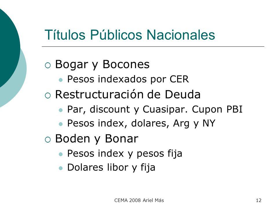 CEMA 2008 Ariel Más12 Títulos Públicos Nacionales Bogar y Bocones Pesos indexados por CER Restructuración de Deuda Par, discount y Cuasipar. Cupon PBI