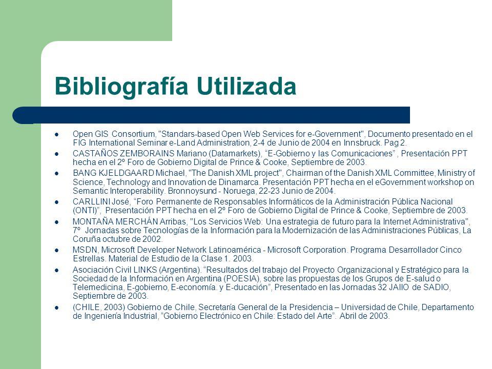 Bibliografía Utilizada Open GIS Consortium,