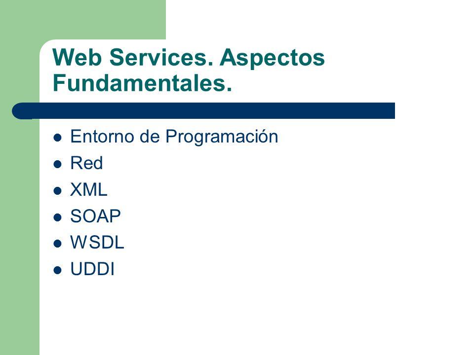 Web Services. Aspectos Fundamentales. Entorno de Programación Red XML SOAP WSDL UDDI