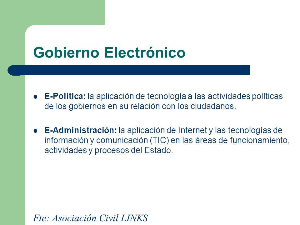 Gobierno Electrónico E-Política: la aplicación de tecnología a las actividades políticas de los gobiernos en su relación con los ciudadanos. E-Adminis