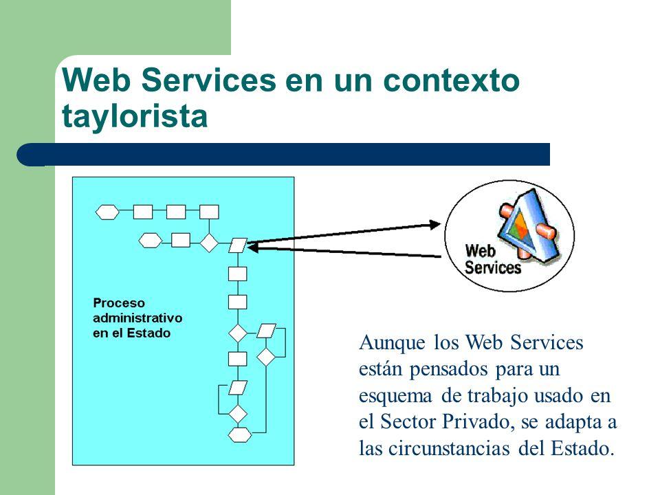 Web Services en un contexto taylorista Aunque los Web Services están pensados para un esquema de trabajo usado en el Sector Privado, se adapta a las c