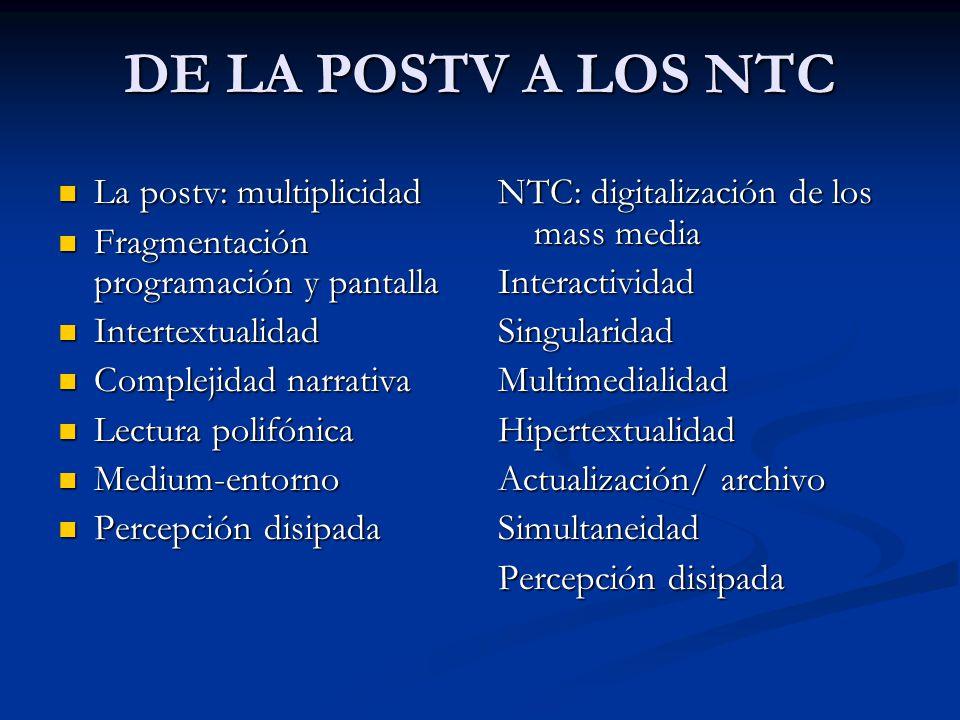 DE LA POSTV A LOS NTC La postv: multiplicidad La postv: multiplicidad Fragmentación programación y pantalla Fragmentación programación y pantalla Inte