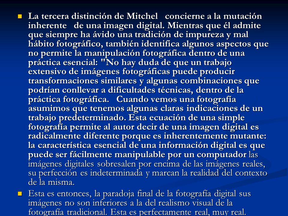 La tercera distinción de Mitchel concierne a la mutación inherente de una imagen digital. Mientras que él admite que siempre ha ávido una tradición de