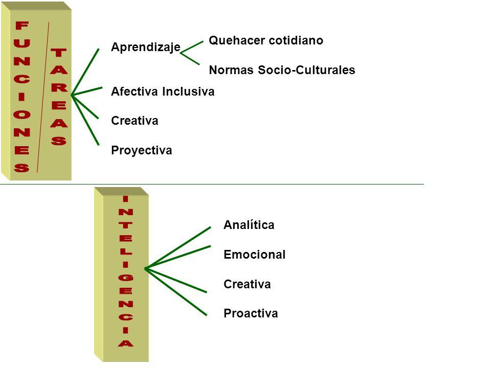 Aprendizaje Afectiva Inclusiva Creativa Proyectiva Quehacer cotidiano Normas Socio-Culturales Analítica Emocional Creativa Proactiva