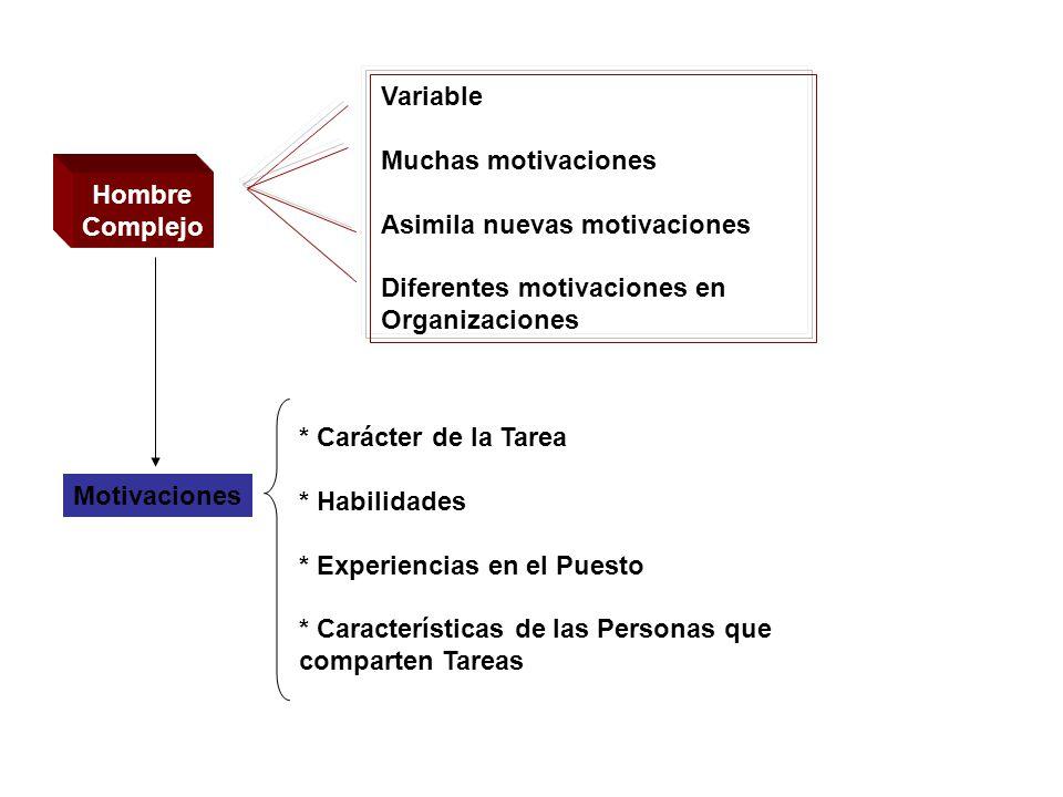 Hombre Complejo Variable Muchas motivaciones Asimila nuevas motivaciones Diferentes motivaciones en Organizaciones Motivaciones * Carácter de la Tarea * Habilidades * Experiencias en el Puesto * Características de las Personas que comparten Tareas