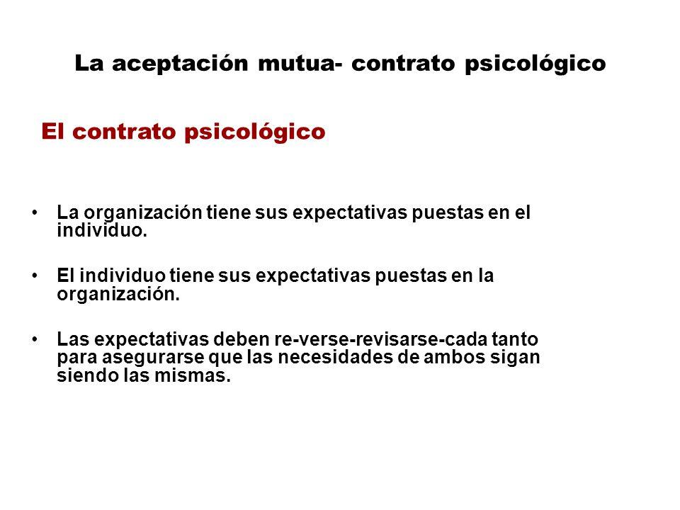 La aceptación mutua- contrato psicológico La organización tiene sus expectativas puestas en el individuo.