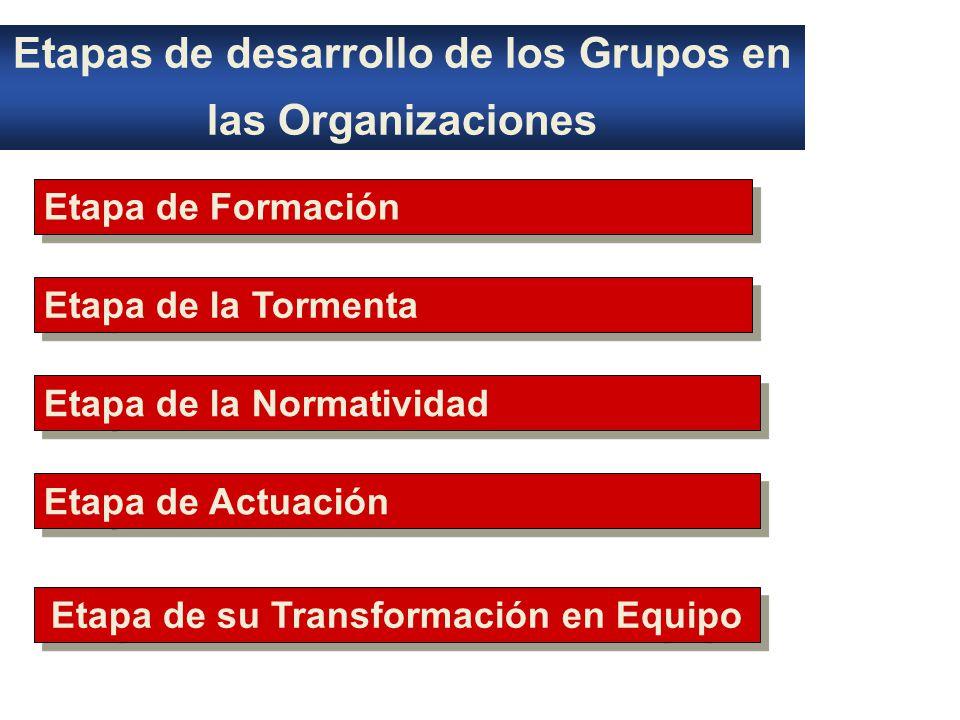 Etapas de desarrollo de los Grupos en las Organizaciones Etapa de Formación Etapa de la Tormenta Etapa de la Normatividad Etapa de Actuación Etapa de su Transformación en Equipo