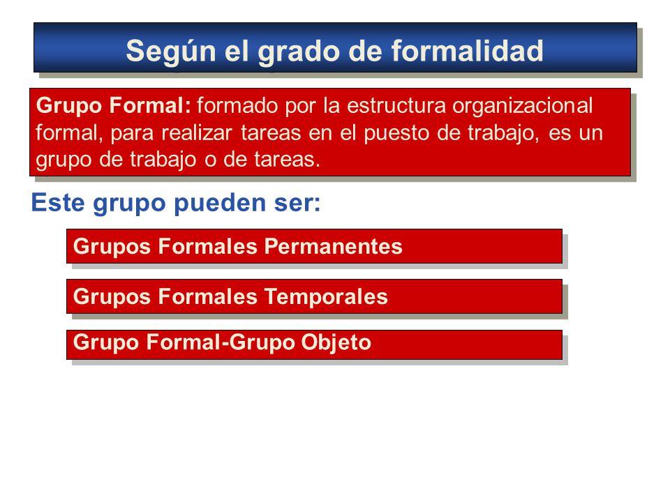 Según el grado de formalidad Grupo Formal: formado por la estructura organizacional formal, para realizar tareas en el puesto de trabajo, es un grupo de trabajo o de tareas.