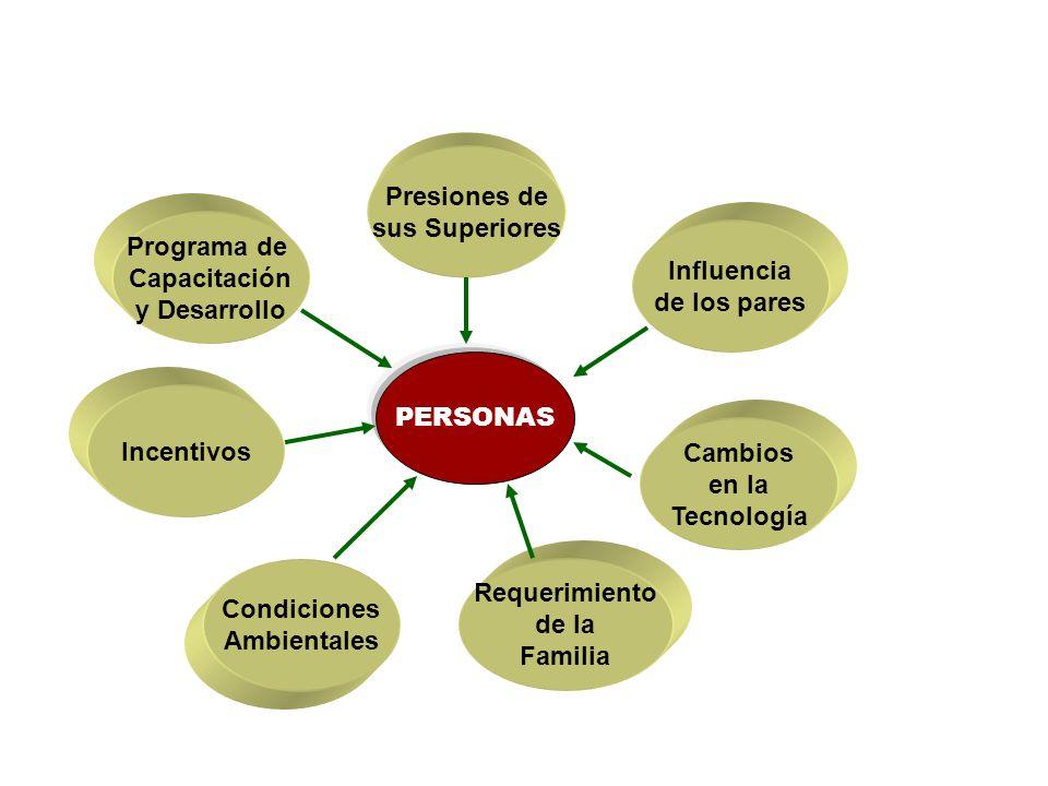 Programa de Capacitación y Desarrollo Incentivos Condiciones Ambientales Presiones de sus Superiores Influencia de los pares Cambios en la Tecnología Requerimiento de la Familia PERSONAS
