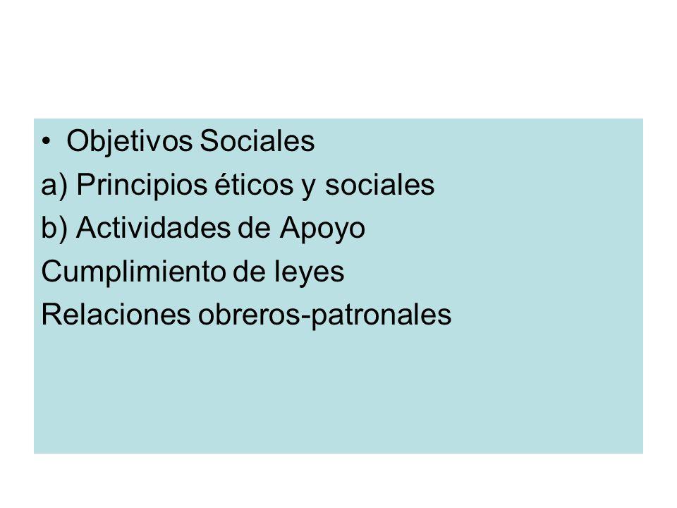 Objetivos Sociales a) Principios éticos y sociales b) Actividades de Apoyo Cumplimiento de leyes Relaciones obreros-patronales