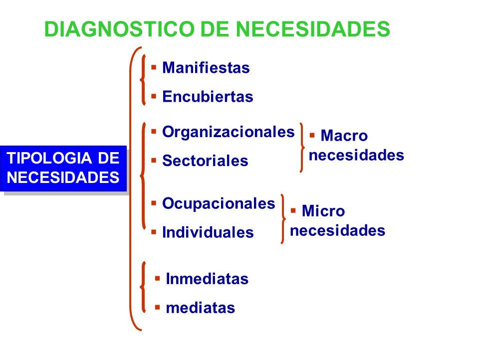 DIAGNOSTICO DE NECESIDADES TIPOLOGIA DE NECESIDADES Manifiestas Encubiertas Organizacionales Sectoriales Ocupacionales Individuales Inmediatas mediatas Macro necesidades Micro necesidades